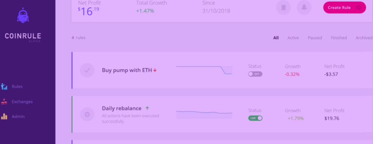 Coinrule dashboard automated trading strategies