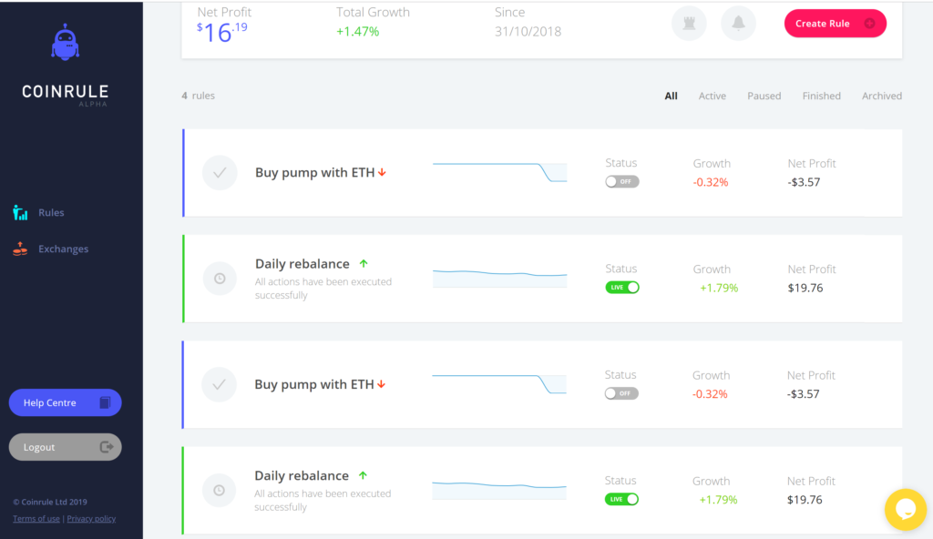 coinrule dashboard for automated trading strategies