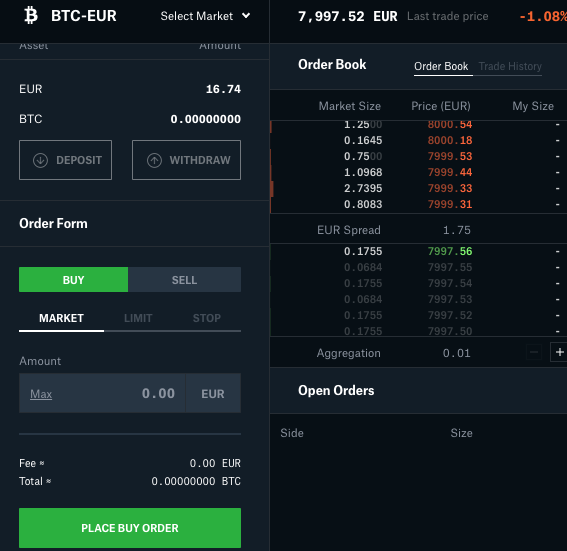 buy order on Coinbase Pro